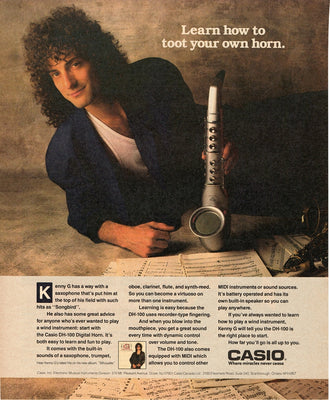 Vintage 1988 Casio D-100 Digital Horn Kenny G Ad