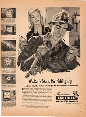 Vintage 1947 Ingraham Sentinel Clocks & Watches Fisherman Ad