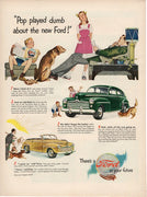Vintage 1947 Ford Green Car Pop Played Dumb Ad