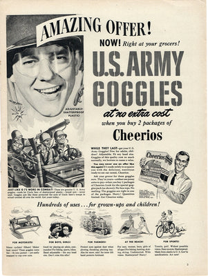 Vintage 1947 Cheerios US Army Goggles Offer Ad