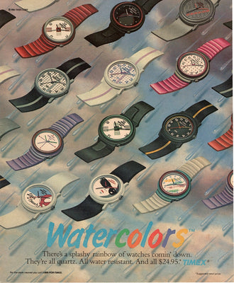 Vintage 1987 Timex Watercolors Watch Ad