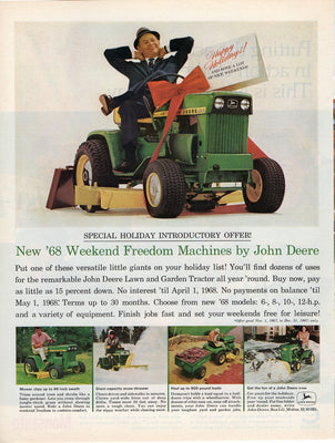 Vintage 1967 John Deere Tractor Weekend Freedom Machines Ad
