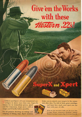 Vintage 1942 Western Super-X And Xpert .22 Bullet Ad