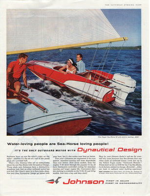 Vintage 1959 Johnson Seahorse Dynautical Design Boat Motor Ad