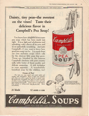 Antique 1922 Campbell's Pea Soup Ad