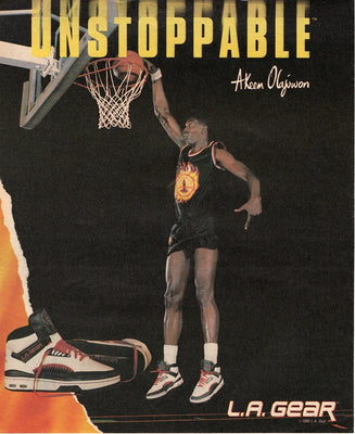 Vintage 1990 L.A. Gear Sneaker Ad With Akeem Olajuwon