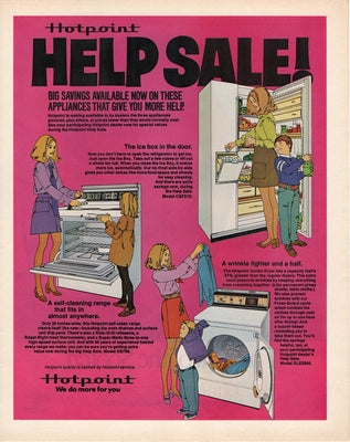 Vintage 1971 Hotpoint Fridge, Stove, & Dryer Ad