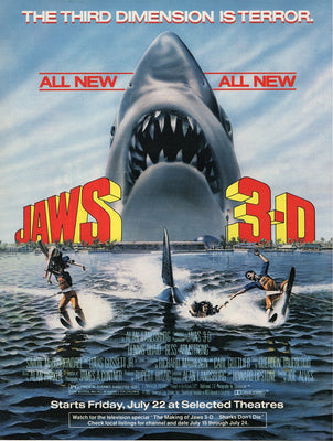 Vintage 1983 Jaws 3D Great White Shark Movie Ad