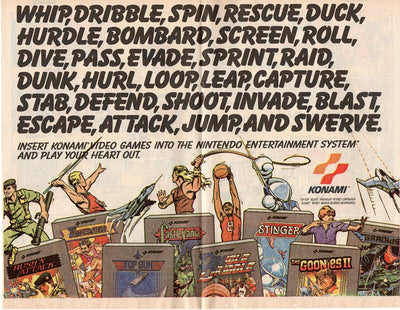 Vintage 1988 Konami Nintendo NES Video Games Ad
