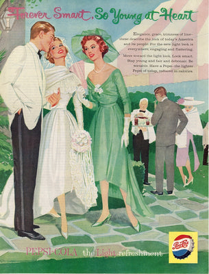 Vintage 1959 Pepsi Young At Heart Bride & Groom Ad