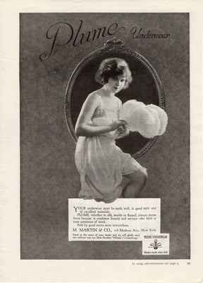 Antique 1921 M Martin & Co. Plume Underwear Ad