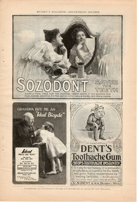 Antique 1899 Sozodont, Dents Toothache Gum, & Ideal Bicycle Ad