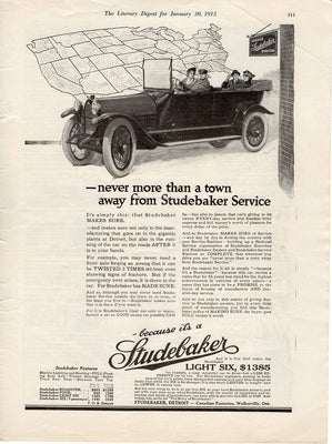 Antique 1915 Studebaker Car & Service Station Ad