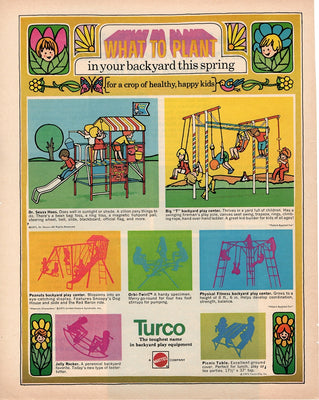 Vintage 1971 Mattel Turco Backyard Play Equipment Ad