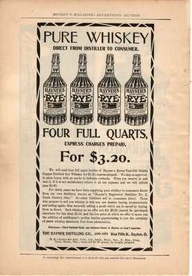 Antique 1899 Hayner Distilling Co Rye Whiskey Ad