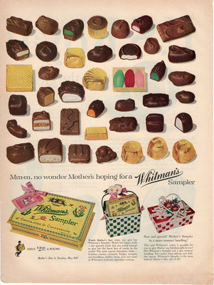 Vintage 1955 Whitman Sampler Chocolates & Confections Candy Ad