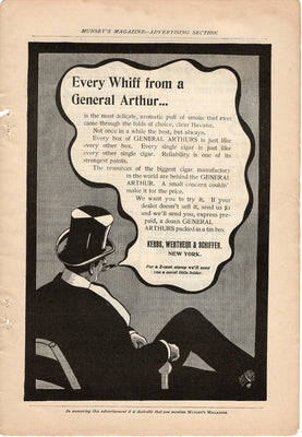 Antique 1899 Kerbs, Wertheim & Schiffer General Arthur Cigarettes Ad