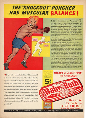 Vintage 1938 Curtiss Candy Co Baby Ruth Boxer Ad