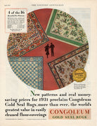 Vintage 1931 Congoleum Gold Seal Rugs Ad