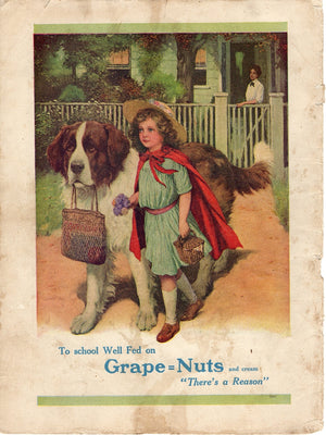 1915 Post Grape Nuts Child With Saint Bernard Ad