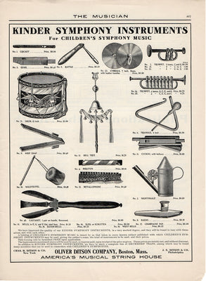 Antique 1904 Oliver Ditson Company Kinder Symphony Children's Instruments Ad