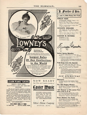 Antique 1904 Lowney's Chocolate Confections Ad