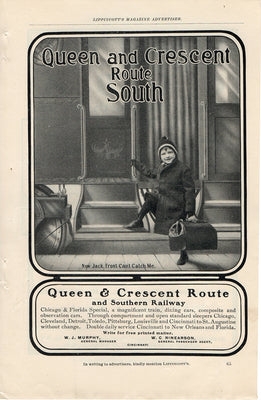 Antique 1902 Southern Railway Queen & Crescrent Route Train Ad
