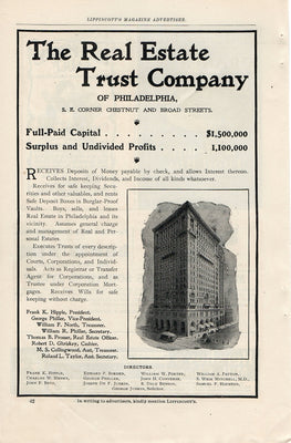 Antique 1902 The Real Estate Trust Co Of Philadelphia Ad