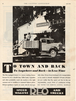 Vintage 1931 Reo Motor Car Co. Speed Wagon And Truck Ad