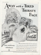 1933 Coca Cola Santa Claus Tired Thirsty Face Ad