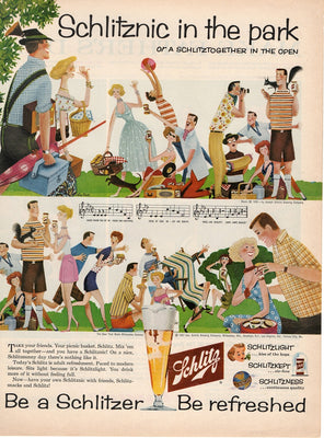Vintage 1957 Schlitz Beer Schlitznic In The Park Ad