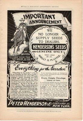 Antique 1899 Peter Henderson & Co Henderson's Seeds Ad