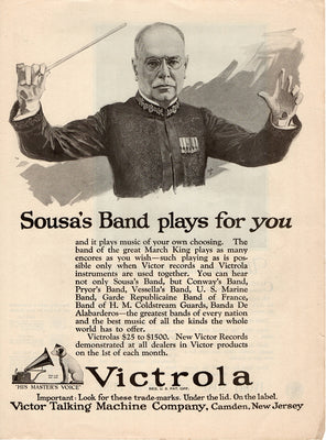 Antique 1922 Victor Victrola Sousa's Band Ad