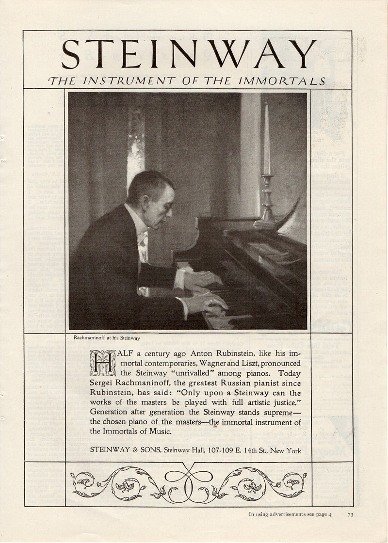 Antique 1921 Steinway & Sons Instrument Of Immortals Piano Ad