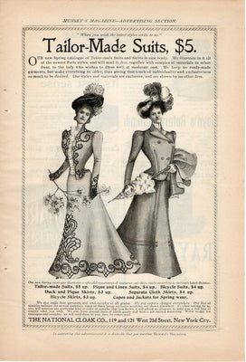 Antique 1899 The National Cloak Co Tailor Made Women's Suits Ad