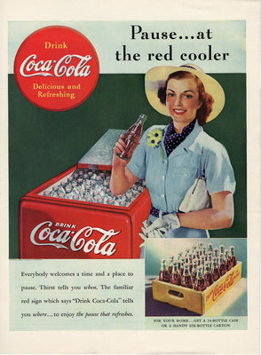 Vintage 1938 Coca Cola Pause At The Red Cooler Ad