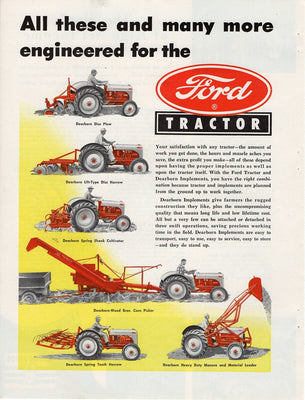Vintage 1949 Ford Tractor And Dearborn Implements Ad