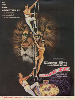 Vintage 1955 Trapeze Movie With Burt Lancaster & Tony Curtis Ad