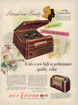 Vintage 1948 RCA Victor Console Record Player Ad