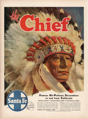 Vintage 1947 The Chief All Pullman Steamliner Santa Fe Systems Train Ad