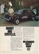 Vintage 1979 Volkswagen Rabbit and Costello Ad