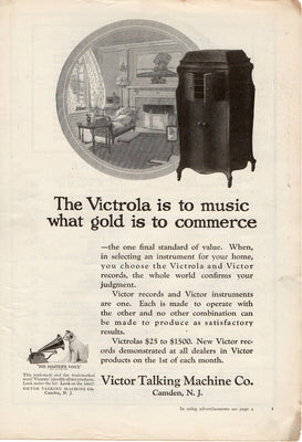 Antique 1921 Victor Talking Machine Victrola Ad