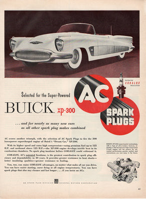 Vintage 1952 AC Spark Plugs For Buick XP-300 Ad