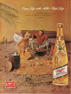 Vintage 1962 Miller High Life Beer On The Beach Ad