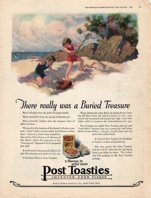 Antique 1922 Post Toasties Corn Flakes Children On The Beach Ad