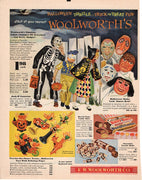 Vintage 1954 Woolworth's Halloween Thrills Candy & Costumes Ad