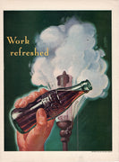 Vintage 1941 Coca Cola Work Refreshed Ad
