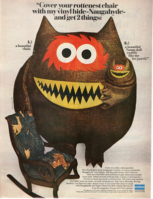 Vintage 1967 UniRoyal Naugahyde Nauga Monster Ad