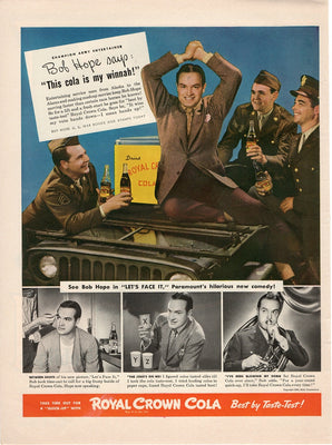 Vintage 1943 Royal Crown Cola Ad With Bob Hope