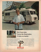 Vintage 1972 Apollo Motor Home Ad With Bob Hope